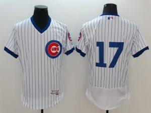 2016 MLB FLEXBASE Chicago Cubs 17 Kris Bryant White stripes Jerseys