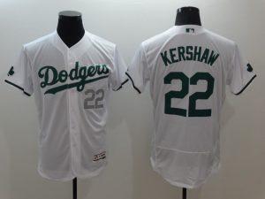 2016 MLB FLEXBASE Los Angeles Dodgers 22 Clayton Kershaw White Green Jerseys