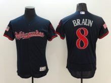 2016 MLB FLEXBASE Milwaukee Brewers 8 Braun Blue Fashion Jerseys