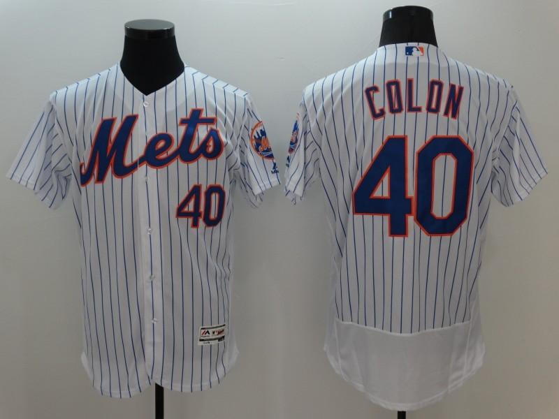 2016 MLB FLEXBASE New York Mets 40 Colon White Jerseys