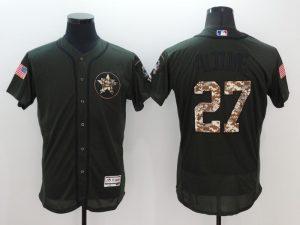 2016 MLB Houston Astros 27 Jose Altuve Green Salute to Service Stitched Baseball Jersey