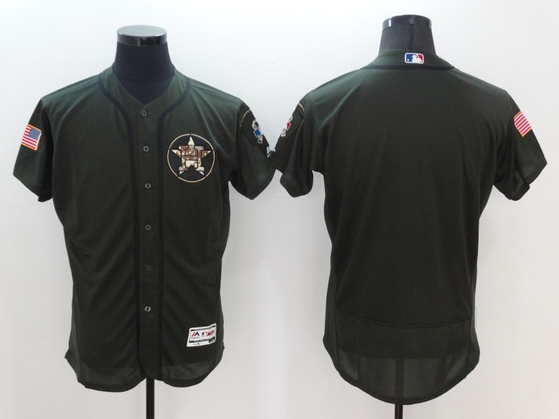 2016 MLB Houston Astros Blank Green Salute to Service Stitched Baseball Jersey