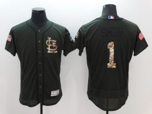 2016 MLB St. Louis Cardinals 1 Smith Green Salute to Service Stitched Baseball Jersey
