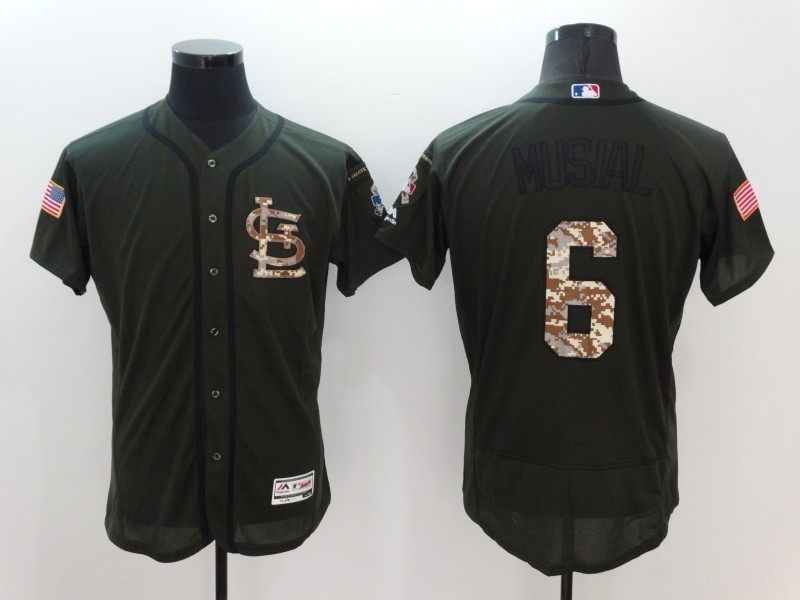 2016 MLB St. Louis Cardinals 6 Musial Green Salute to Service Stitched Baseball Jersey