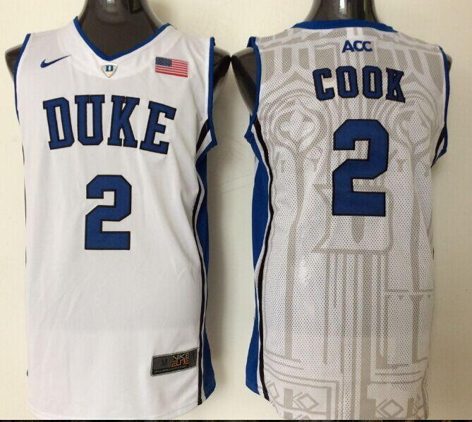 2016 NBA NCAA Duke Blue Devils 2 Cook White Jerseys 1