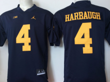 2016 NCAA Jordan Michigan Wolverines 4 Harbaugh Blue Jerseys