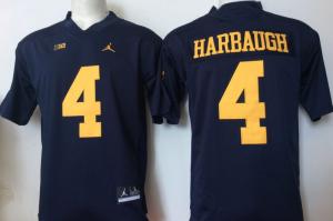 2016 NCAA Jordan Michigan Wolverines 4 Harbaugh Blue Jerseys