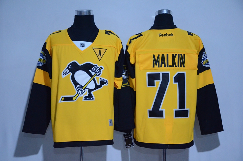 2016 NHL Pittsburgh Penguins 71 Malkin Yellow Jerseys
