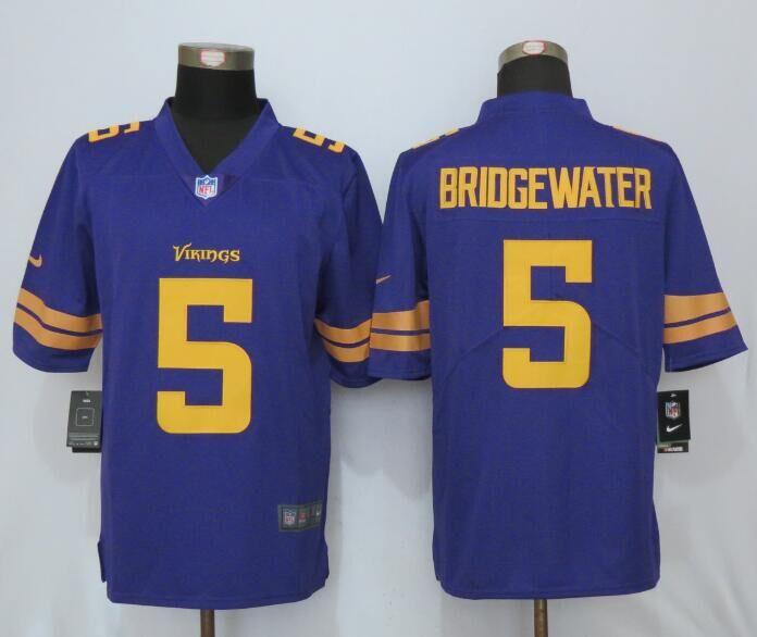 2016 New Nike Minnesota Vikings 5 Bridgewater Navy Purple Color Rush Limited Jersey