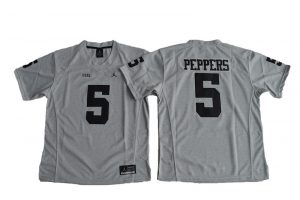 2016 Women Heather Gray Michigan Wolverines Jabrill Peppers 5 College Football Limited Jerseys - Gridiron Gray II