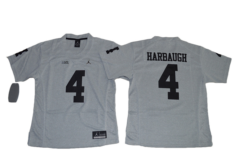 2016 Women Heather Gray Michigan Wolverines Jim Harbaugh 4 College Football Limited Jerseys - Gridiron Gray II