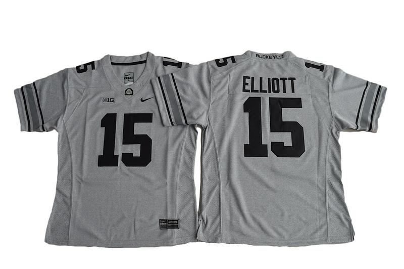 2016 Women Ohio State Buckeyes Ezekiel Elliott 15 College Football Jersey - Gridion Grey II