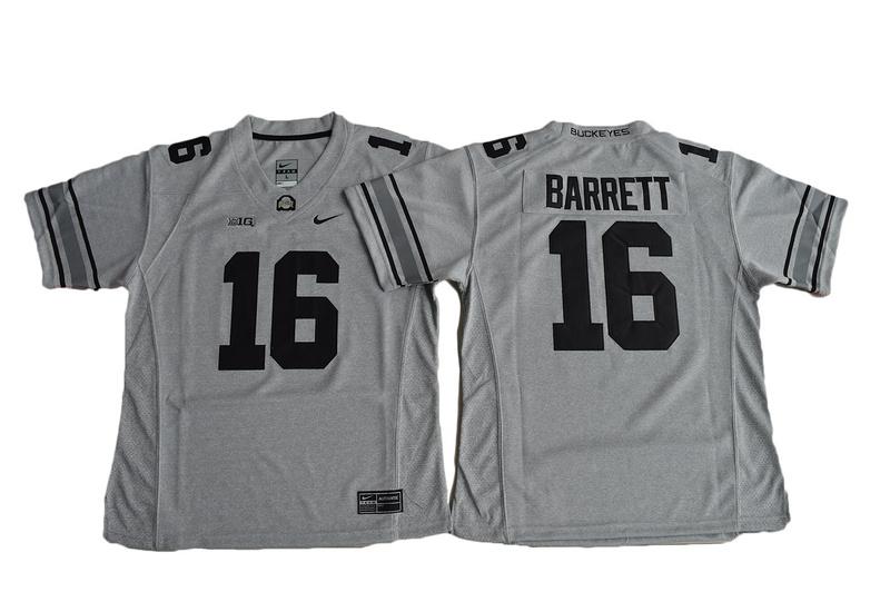 2016 Women Ohio State Buckeyes J.T. Barrett 16 College Football Jersey - Gridion Grey II