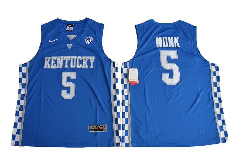 2017 Kentucky Wildcats Malik Monk 5 College Basketball Elite Jersey - Royal Blue