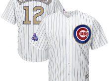 2017 MLB Chicago Cubs 12 Schwarber CUBS White Gold Program Game Jersey