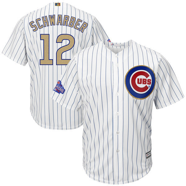 2017 MLB Chicago Cubs 12 Schwarber CUBS White Gold Program Game Jersey