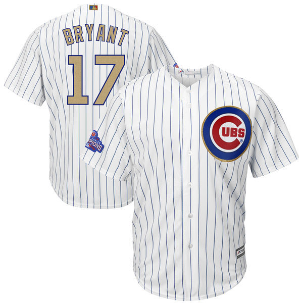 2017 MLB Chicago Cubs 17 Bryant CUBS White Gold Program Game Jersey