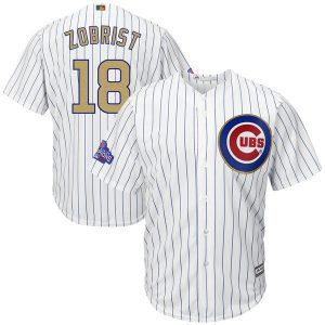 2017 MLB Chicago Cubs 18 Zobrist CUBS White Gold Program Game Jersey