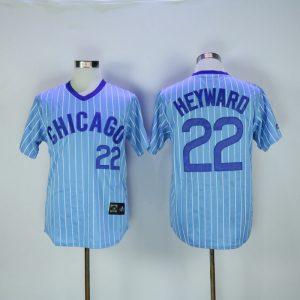 2017 MLB Chicago Cubs 22 Heywaro Blue White stripe Throwback Jerseys