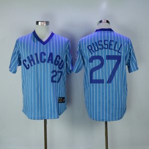 2017 MLB Chicago Cubs 27 Russell 1984 Blue White stripe Throwback Jerseys