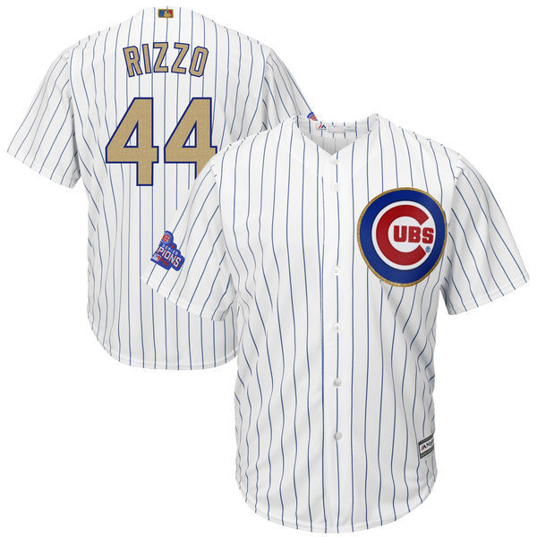 2017 MLB Chicago Cubs 44 Rizzo CUBS White Gold Program Game Jersey