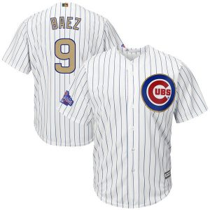 2017 MLB Chicago Cubs 9 Baez CUBS White Gold Program Game Jersey
