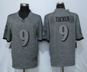 Baltimore Ravens 9 Tucker Gray Men's Stitched Gridiron Gray New Nike Limited Jersey