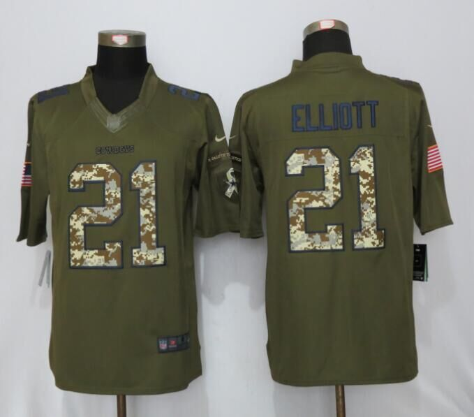 Dallas Cowboys 21 Elliott Green Salute To Service New Nike Limited Jersey