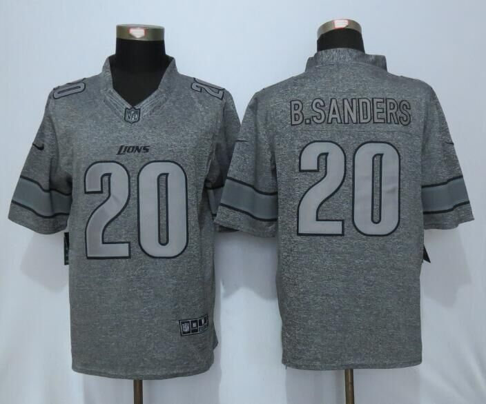 Detroit Lions 20 B.Sanders Gray Men's Stitched Gridiron Gray New Nike Limited Jersey