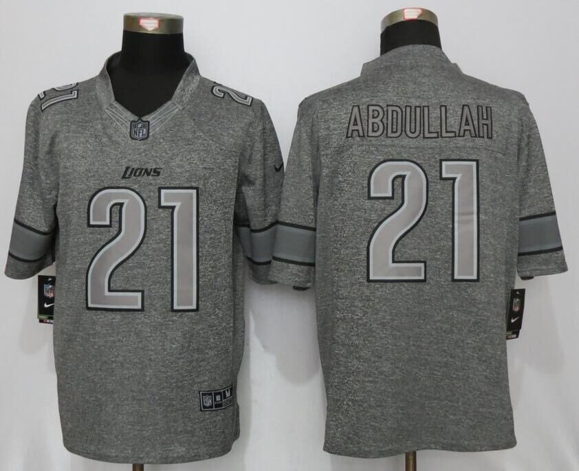 Detroit Lions 21 Abdullah Gray Men's Stitched Gridiron Gray New Nike Limited Jersey