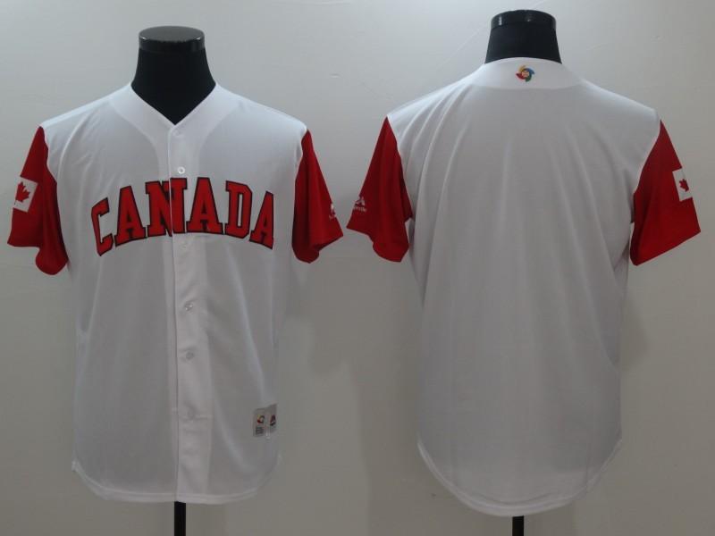 Men Canada Baseball Majestic White 2017 World Baseball Classic Replica Team Jersey