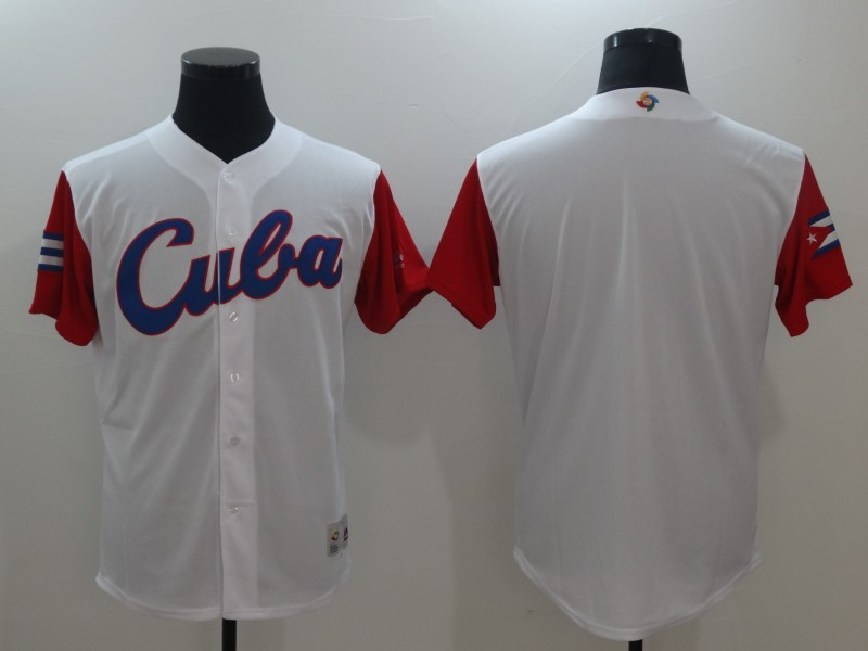Men Cuba Baseball Majestic White 2017 World Baseball Classic Replica Team Jersey