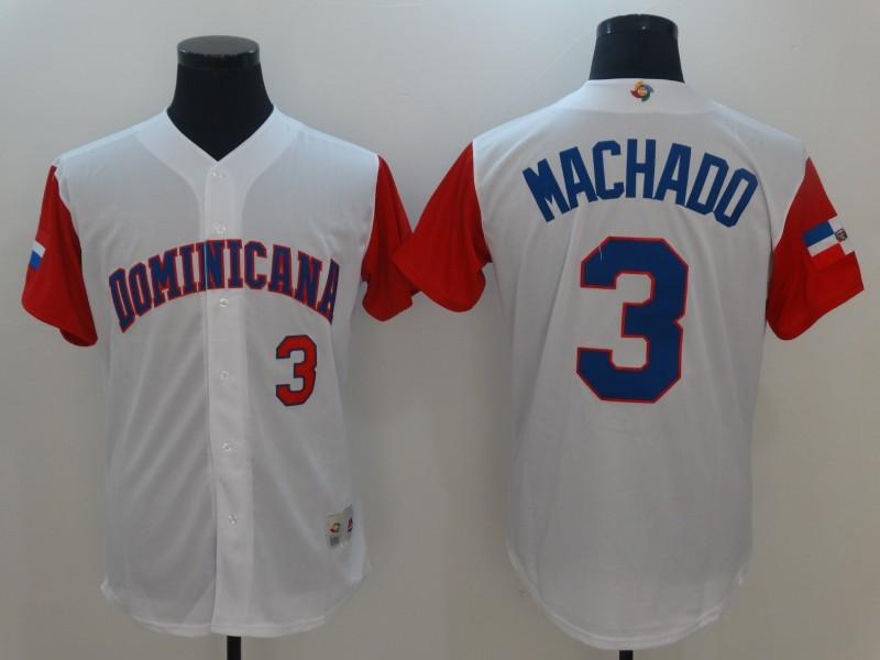 Men Dominican Republic Baseball 3 Manny Machado Majestic White 2017 World Baseball Classic Authentic Jersey