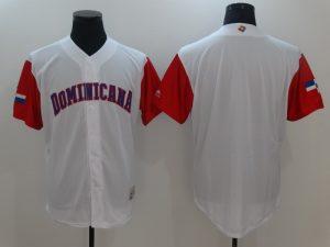 Men Dominican Republic Baseball Majestic White 2017 World Baseball Classic Replica Team Jersey