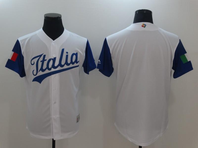 Men Italy Baseball Majestic White 2017 World Baseball Classic Replica Team Jersey
