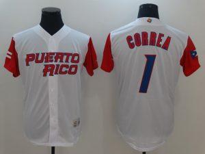 Men Puerto Rico Baseball 1 Carlos Correa White 2017 World Baseball Classic Authentic Jersey