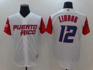 Men Puerto Rico Baseball 12 Francisco Lindor White 2017 World Baseball Classic Authentic Jersey