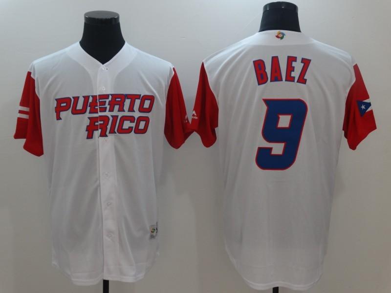 Men Puerto Rico Baseball 9 Javier Baez Majestic White 2017 World Baseball Classic Authentic Jersey