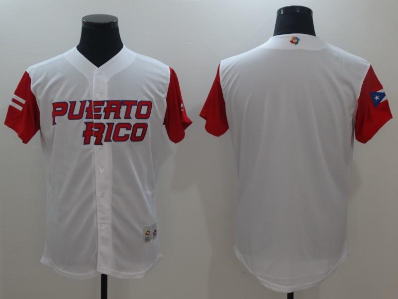 Men Puerto Rico Baseball Majestic White 2017 World Baseball Classic Replica Team Jersey