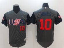 Men USA Baseball 10 Jones Gray 2017 World Baseball Classic Authentic Jersey
