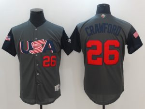 Men USA Baseball 26 Crawford Gray 2017 World Baseball Classic Authentic Jersey