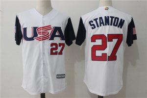 Men USA Baseball 27 Giancarlo Stanton Majestic White 2017 World Baseball Classic Authentic Jersey