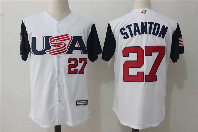 Men USA Baseball 27 Giancarlo Stanton Majestic White 2017 World Baseball Classic Authentic Jersey