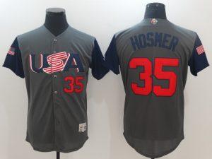 Men USA Baseball 35 Eric Hosmer Gray 2017 World Baseball Classic Authentic Jersey