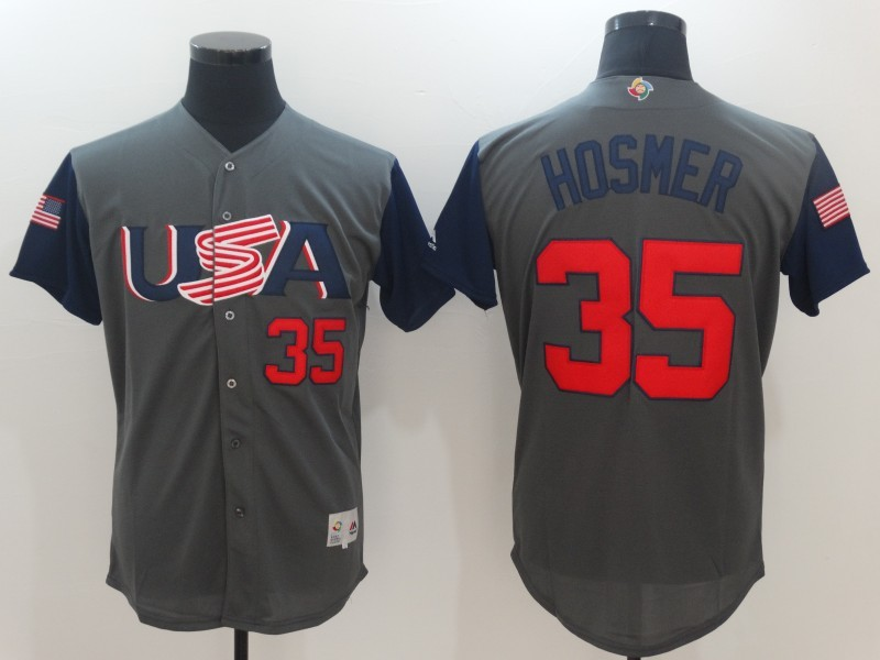 Men USA Baseball 35 Eric Hosmer Gray 2017 World Baseball Classic Authentic Jersey