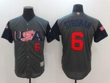 Men USA Baseball 6 Stroman Gray 2017 World Baseball Classic Authentic Jersey
