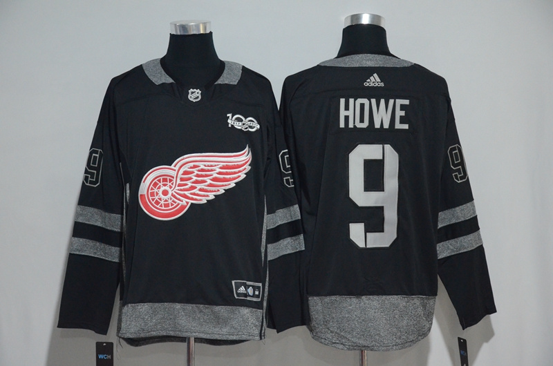 NHL Detroit Red Wings 9 Howe Black 1917-2017 100th Anniversary Stitched Jersey