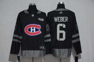 NHL Montreal Canadiens 6 Weber Black 1917-2017 100th Anniversary Stitched Jersey