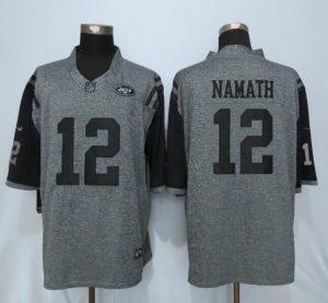 New York Jets 12 Namath Gray Men's Stitched Gridiron Gray Nike Limited Jersey