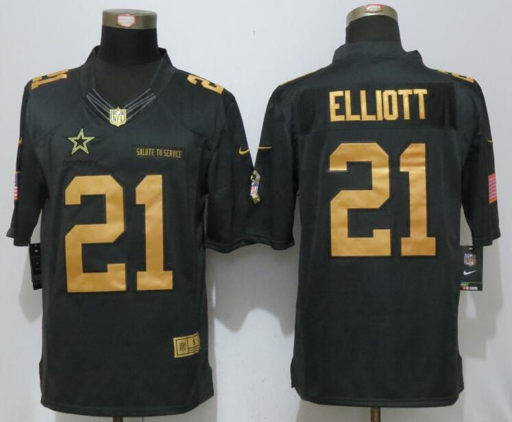 Nike Dallas Cowboys 21 Elliott Gold Anthracite Salute To Service Limited Jersey